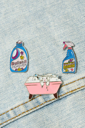 Bathtub & Cat Pin Badge Set 3pcs
