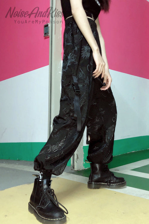 Dark Print Dragon Pants (Black)