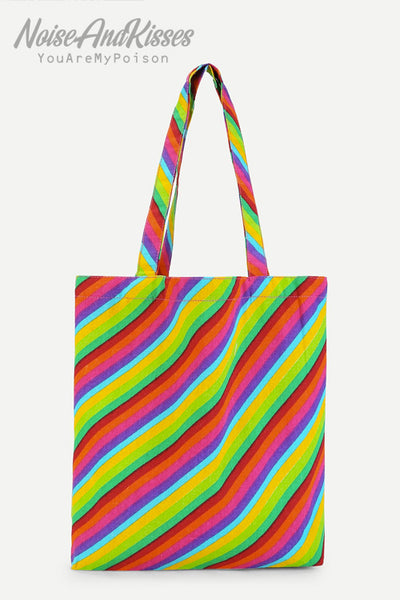 Colorful Striped Tote Bag