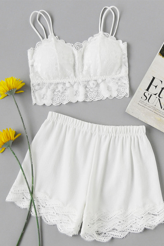 Floral Lace Overlay Scallop Trim Pajama Set