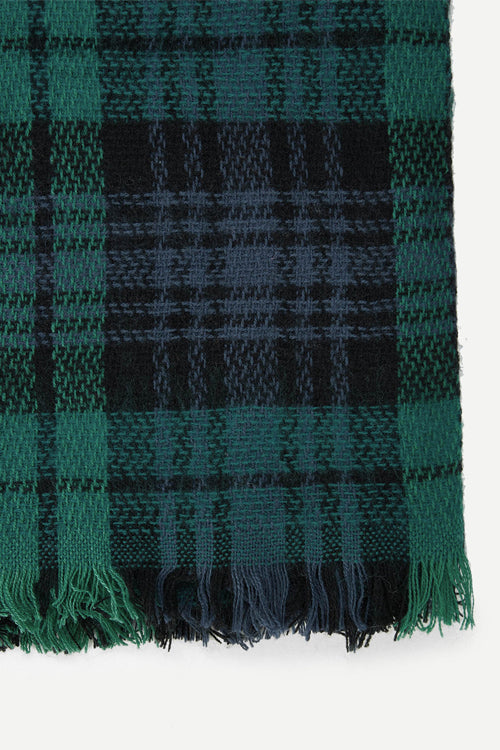 Frayed Trim Plaid Scarf (Green)