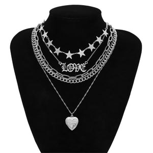 Locket Heart 5 Chain Necklace (2 color)