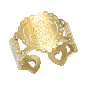 Guadalupe Heart Wide Ring (Gold)