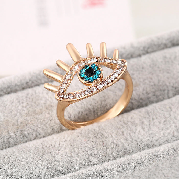 Rhinestone Eye Ring III (Gold)