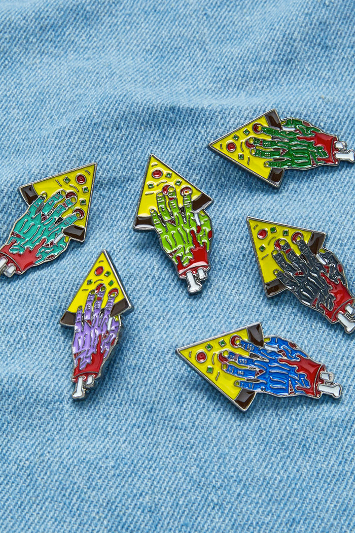 Zombie Hand With Pizza Design Pin Badge Set