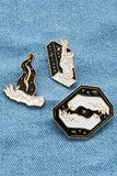 Hand & Flame Design Pin Badge Set