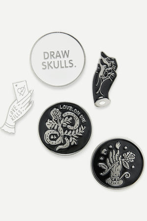 Hand & Round Design Pin Badge Set