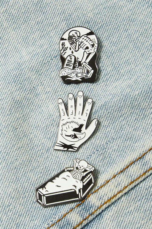 Hand & Skeleton Pin Badge Set 3pcs