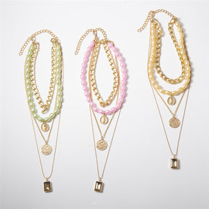 Medal Pearl 4 Line Necklace (2 color)