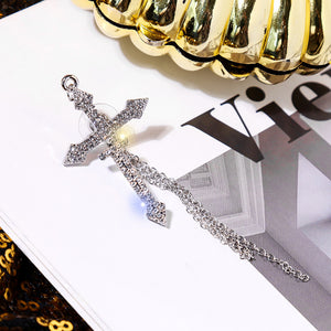 Rhinestone Big Cross Chain Pierce (Silver)