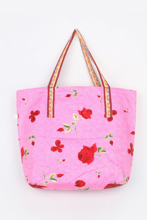 KRAVITZ KRABAG(M-851) Pink Flower Wide Tote Bag