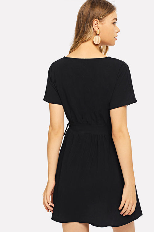 Knot Side Single Breasted Dress