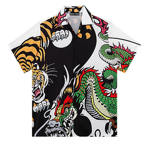 Tiger And Dragon Open Collar S/S Shirt (White)