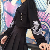 Dragon Printed Sleeve L/S Top (Black)