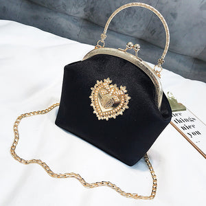 Corazon Velvet Shoulder Bag (Black)