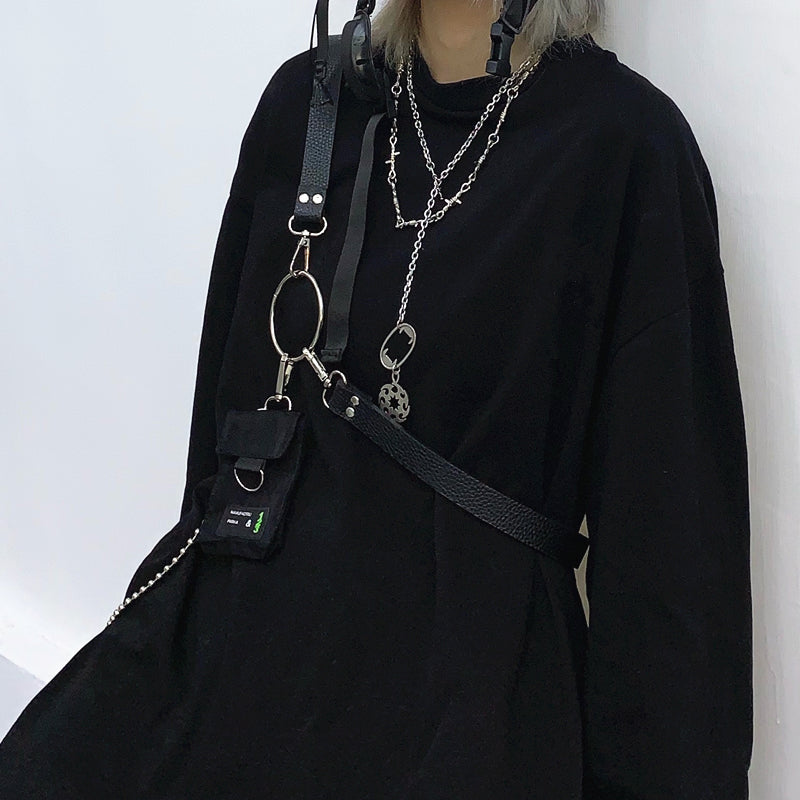 Ring Chain Shoulder Mini Pouch (Black)