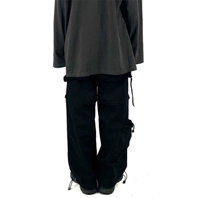 Zipper Separate Wide Pants (Black)