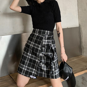 Belt Plaid Skirt (Black)