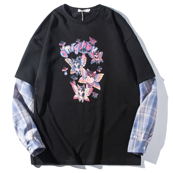 Butterfly Cats Fake Layered L/S Top (2 color)