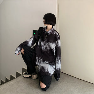 Tie-Dye Border L/S Shirt (Black)
