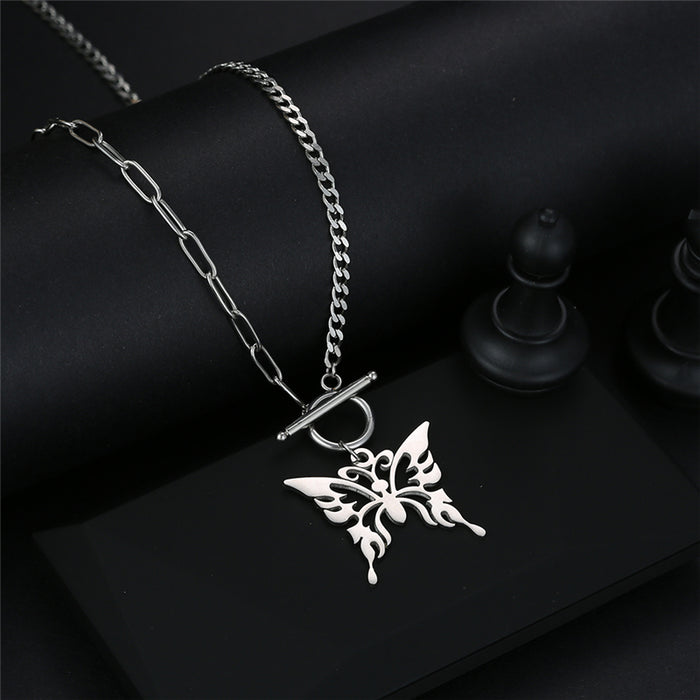 Chain Butterfly Necklace (Silver)