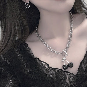 Black Cherry Chain Necklace