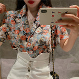V-Neck Flower Top (Blue)