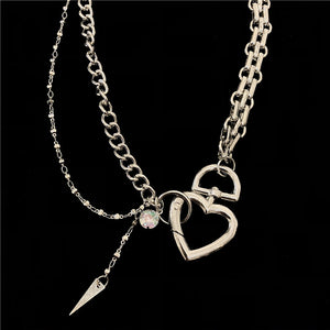 Heart Chain Necklace (Silver)