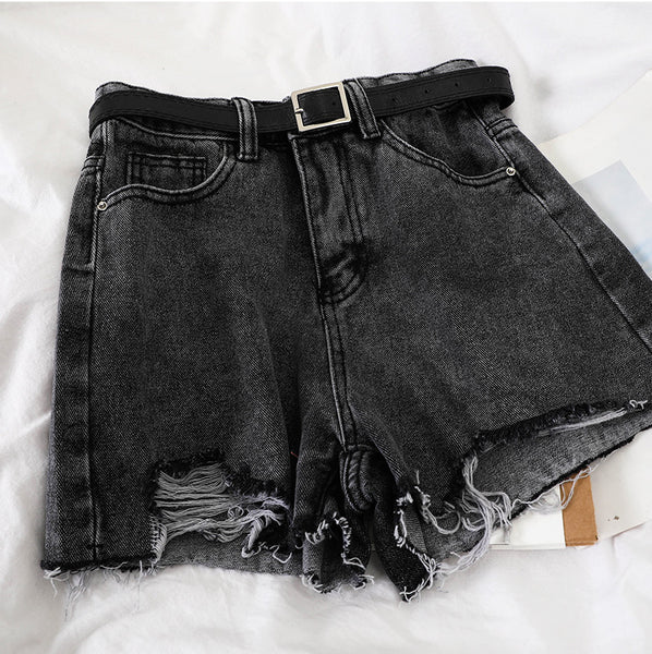 Damaged Denim Short Pants (Gray)