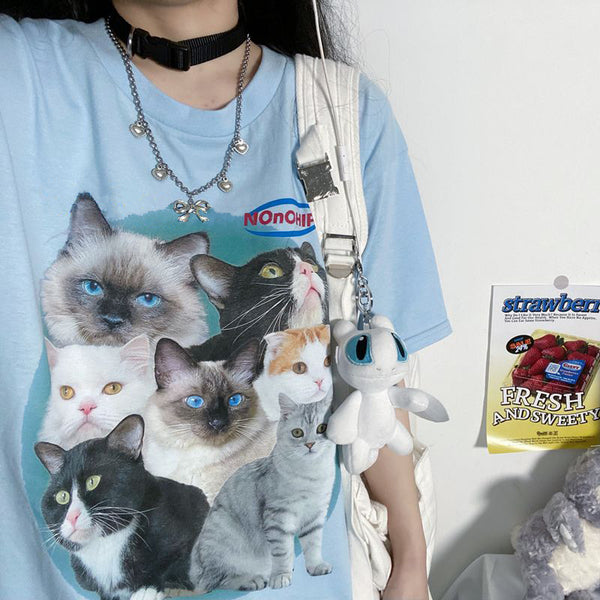 Cats Printed S/S T-shirt (Blue)