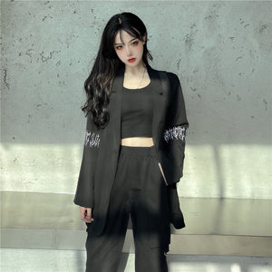 Sleeve Embroidery Light Jacket (Black)