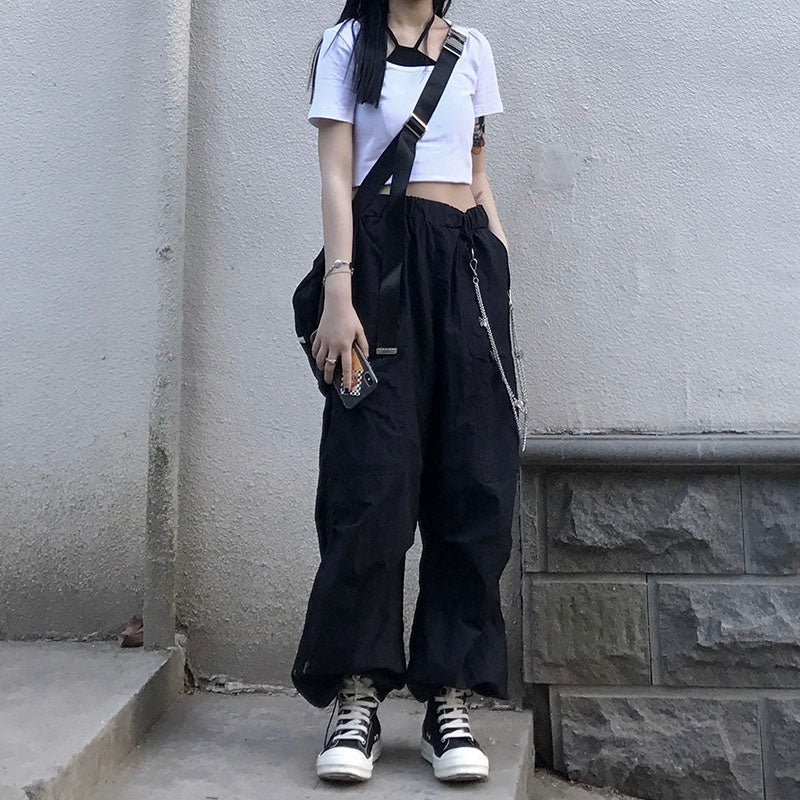 Sporty High Waist Pants (Black)