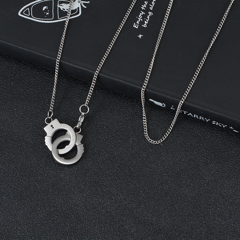 Hand Cuffs Necklace (Silver)