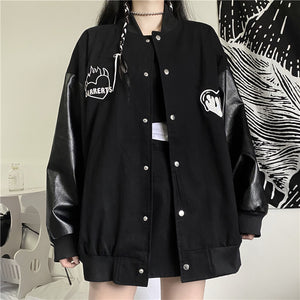Synthetic Leather Heart Jacket (Black)