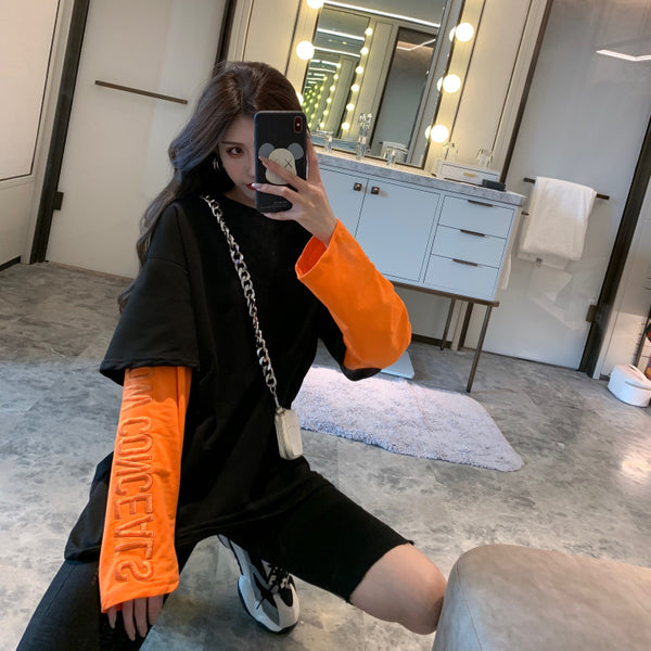 Fake Layered Neon Sleeve L/S T-shirt (2 color)