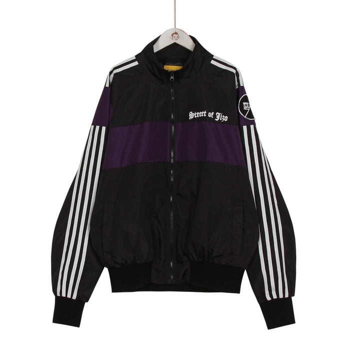 Patch Nylon Side Line Jacket (Black/Purple)