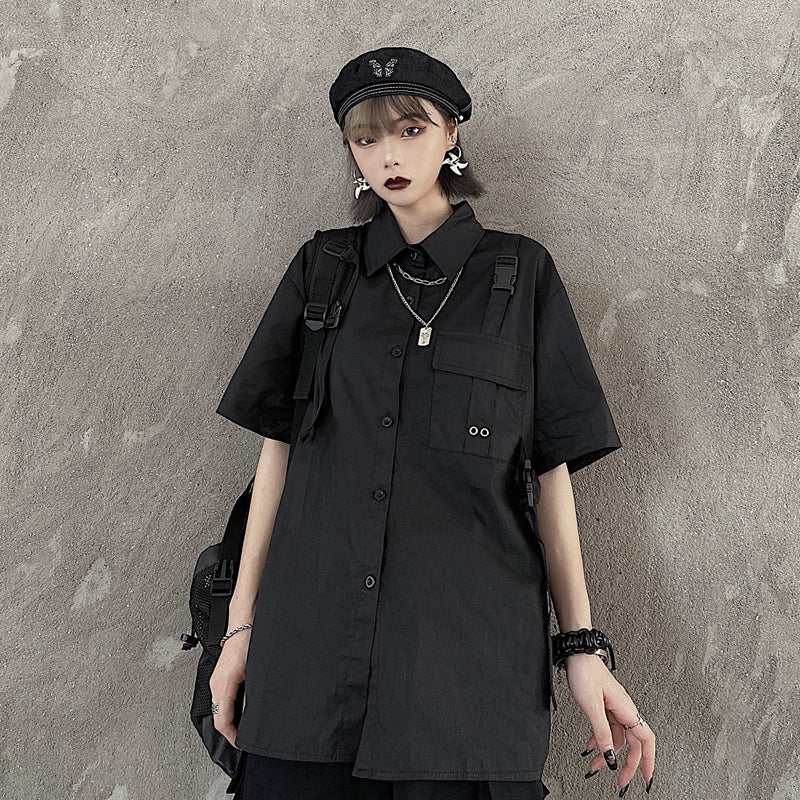 Simple S/S Shirt w/Chain Necklace (Black)