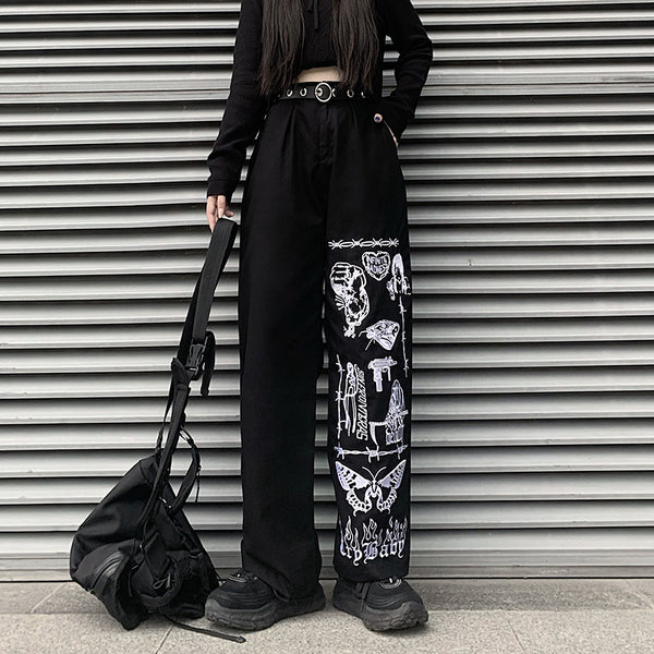 Embroidery Pants (Black)
