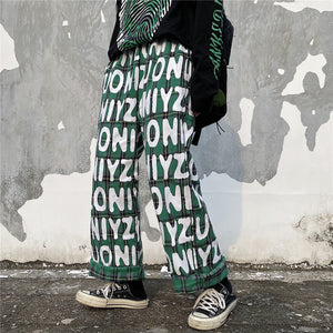 Plaid Check Logo Printed Long Pants (2 color)