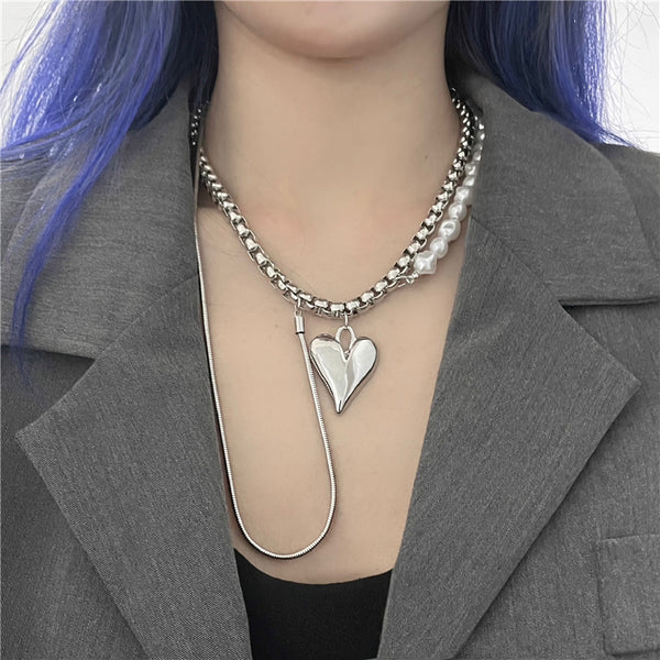 Chain Pearl Beads Heart Top Necklace (Silver)