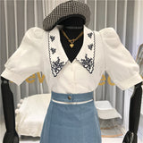 Embroidery Collar S/S Top (2 color)