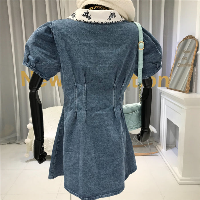 Embroidery Collar Dress (Blue)