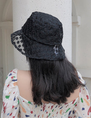 Sheer Flower Bucket Hat (Black)