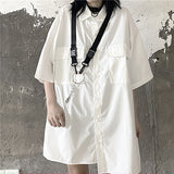 Simple S/S Shirt w/O-Ring Big Necklace (2 color)