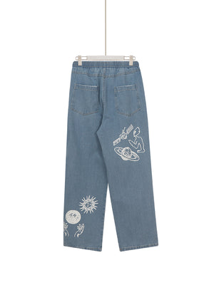 Damaged Logo Denim Mens Pants (Blue)
