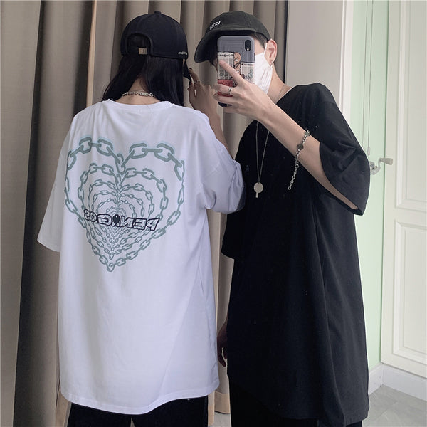 Chain Heart Printed S/S T-shirt (2 color)