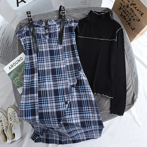 Rib Top And Plaid Camisole Dress Set (Blue)