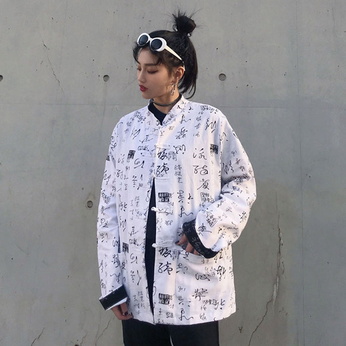 Reversible Kanji China L/S Shirt (Black/White)