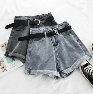 Roll-Up Denim Short Pants w/Belt (Black)