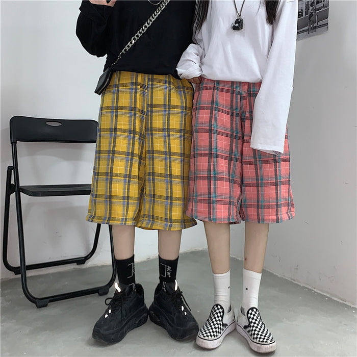 2 Way Joint Plaid Pants (Pink)